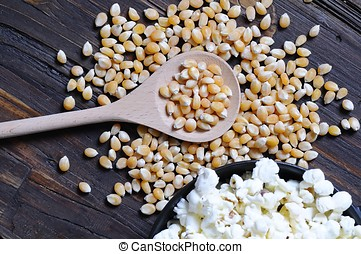 Popcorn. - Freshly made popcorn on a wooden table
