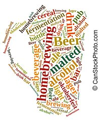 Homebrewing beer. - Illustration with word cloud on...