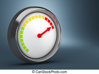 Gauge on dark background - Gauge on dark blue background 3d...