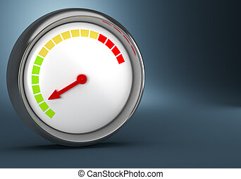 Gauge on dark background - Gauge on dark blue background. 3d...