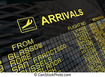 International Airport Arrivals Board - International...