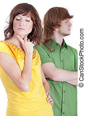 frustrated couple - conflict situation between man and woman...