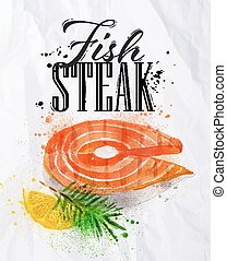Fish steak watercolor