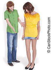 short skirt - woman wears short skirt - frustrated man...