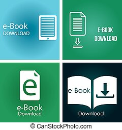 E-book - Set of colored backgrounds with e-book icons Vector...