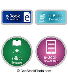 E-book - Set of colored labels with e-book icons Vector...
