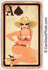 Spades poker cards pin up woman, vector illustration