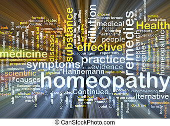 Homeopathy wordcloud concept illustration glowing -...