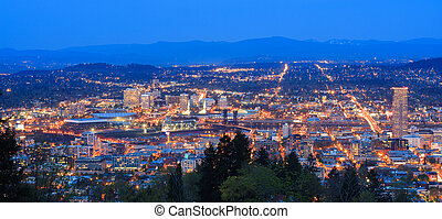 Beautiful Night Vista of Portland, Oregon - View of...