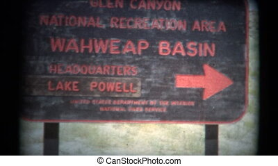 (1950's 8mm Vintage) Welcome to - A travel shot of heading...