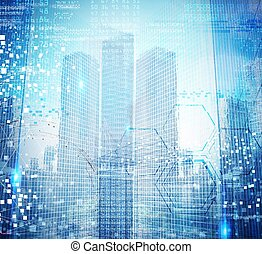 Futuristic background of city designed to computer