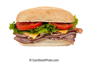 A submarine sandwich on white