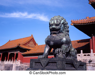 The Forbidden City - Beijing, China - Bronze lion at...