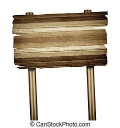 古い, 木製である, 印, 隔離された, 印, 木, 白, 板