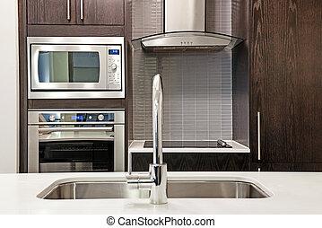 moderno, cocina, interior,