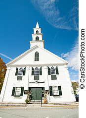 White wooden church, Newfane, USA - Traditional style 18th...