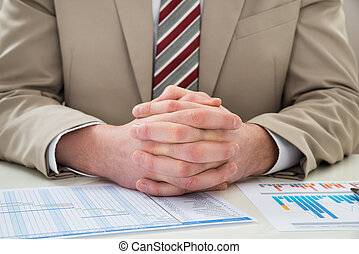 Businessman With Gantt Chart - Close-up Of Businessman With...