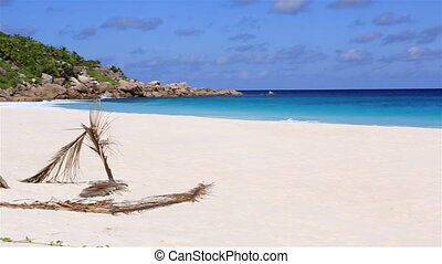 Panorama of beautiful beach Anse Petit Island of La Digue in...