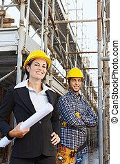 trabalhador, construção, arquiteta