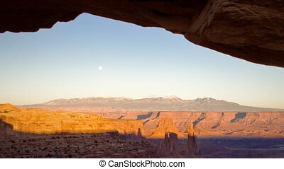 (1132) Mesa Arch Canyonlands Sunset Full Moon Over Utah Mountains