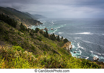 View of the Pacific Coast in Big Sur, California