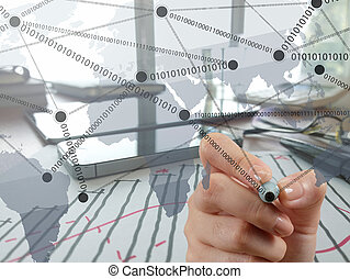 businessman hand working with new modern computer show social network structure as concept