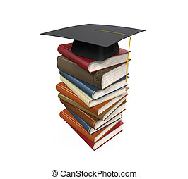 Graduation Cap and Books isolated on white background. 3D...