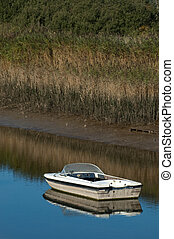 motorboat - small motorboat in calm water on a bright day