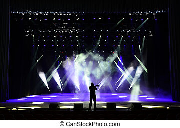 Singing man silhouette on a brightly lit concert stage
