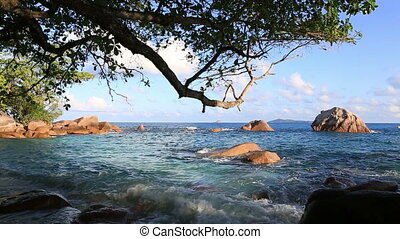 Beautiful Indian Ocean on the beach of Anse Lazio Island of...