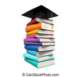 Graduation Cap and Books isolated on white background 3D...