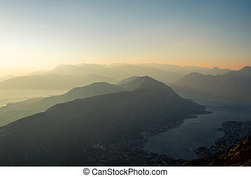 Balkan mountains on the sunset - Tivat and Kotor bay with...