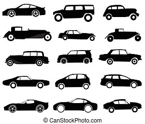 Cars - Collection of silhouettes of different models of cars