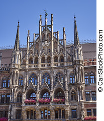 detail of the town hall, Munich Germany