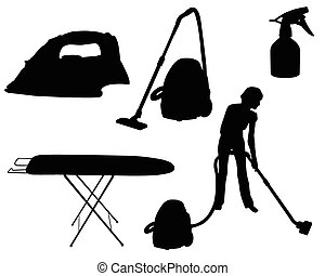 household appliances silhouette - Silhouettes of household...