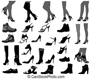 Footwear - Collection of silhouettes of different kinds of...