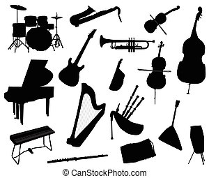 musical instruments - Silhouettes of musical instruments,...