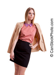 Businesswoman in jacket over white background