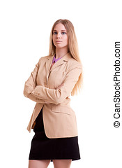 Young businesswoman in jacket isolated over white