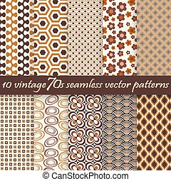 collection seamless vintage 70s backgrounds - collection of...
