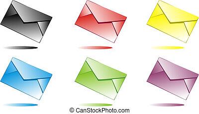 Multi-coloured envelopes - Six multi-coloured envelopes for...
