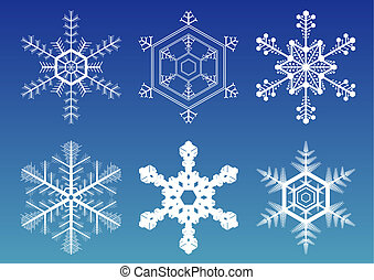 Snowflakes - Six vector illustration snowflakes isolated...