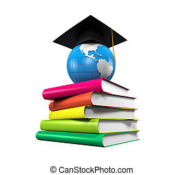 Graduation Cap, Globe and Books isolated on white background...