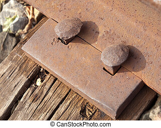 Rusted Train Rail - Closeup of the heads of rusted train...
