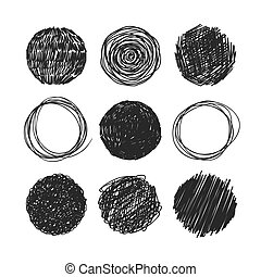 Abstract chaotic round sketch Circles scrawled in pencil on...