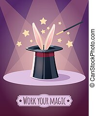 Magic top hat with rabbit Props magician
