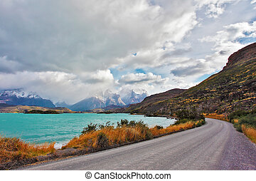 The road around the lake Pehoe - Beautiful Patagonia. Park...