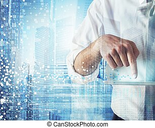 Work with technology - Businessman works and designs with...