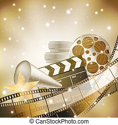 background with retro filmstrip and stars - cinema...