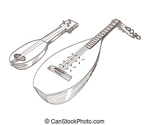 cobza musical stringed instruments drawing